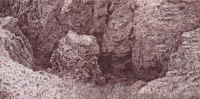 18.21,graphite on canvas 87 x 43 x 6.5cm
