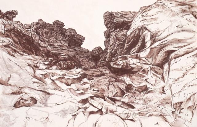 Stac (ascent), graphite on canvas, 241 x 158cm