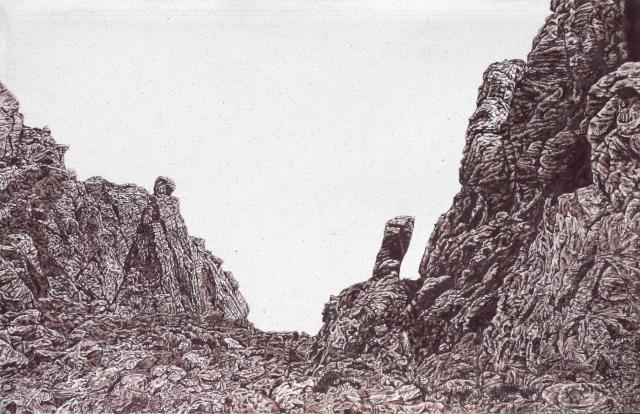 Stac (descent), graphite on canvas, 64 x 40cm